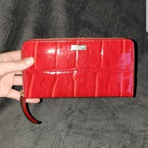NWOT Kate Spade red patent leather wallet clutch